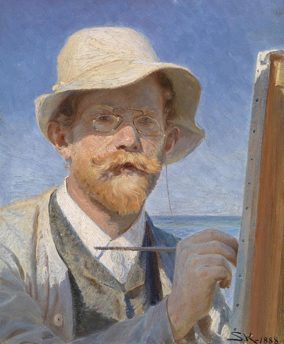 Self portrait, Oil On Canvas by Peder Severin Kroyer (1851-1909, Norway)