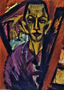 Self-portrait, Chalk by Ernst Ludwig Kirchner  (order Fine Art painting copy Ernst Ludwig Kirchner)