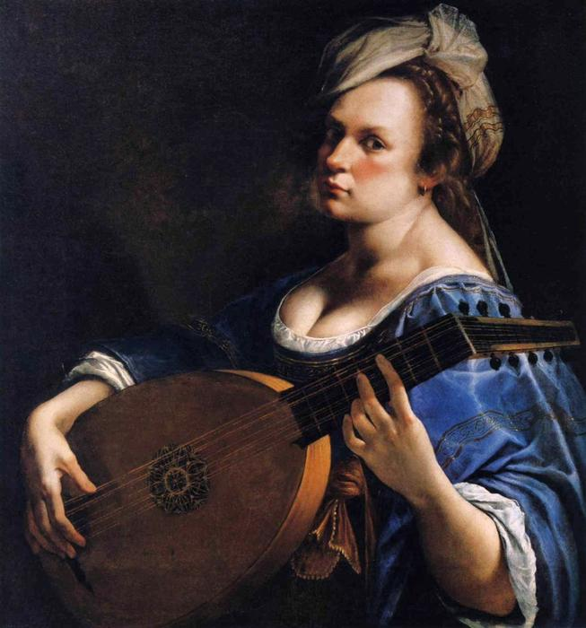 Player oil on canvas by artemisia gentileschi 1593 1652 italy