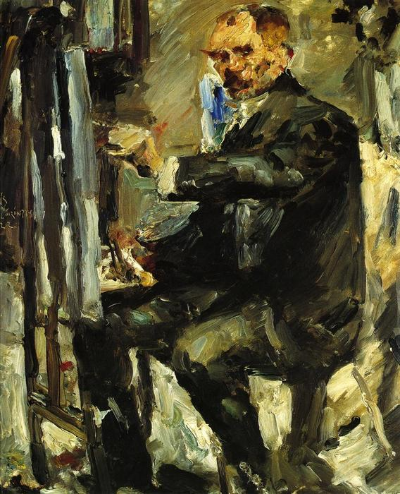 Self Portrait at the Easel, Oil On Canvas by Lovis Corinth (Franz Heinrich Louis) (1858-1925, Netherlands)