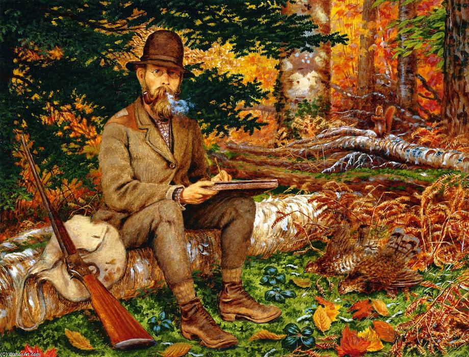Self Portrait in Hunting Gear, 1875 by William George Richardson Hind (1833-1889, United Kingdom) | Reproductions William George Richardson Hind | WahooArt.com