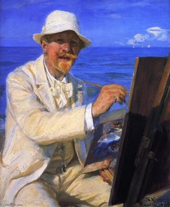 Peder Severin Kroyer - Self-Portrait, Sitting by His Easel at Skagen Beach
