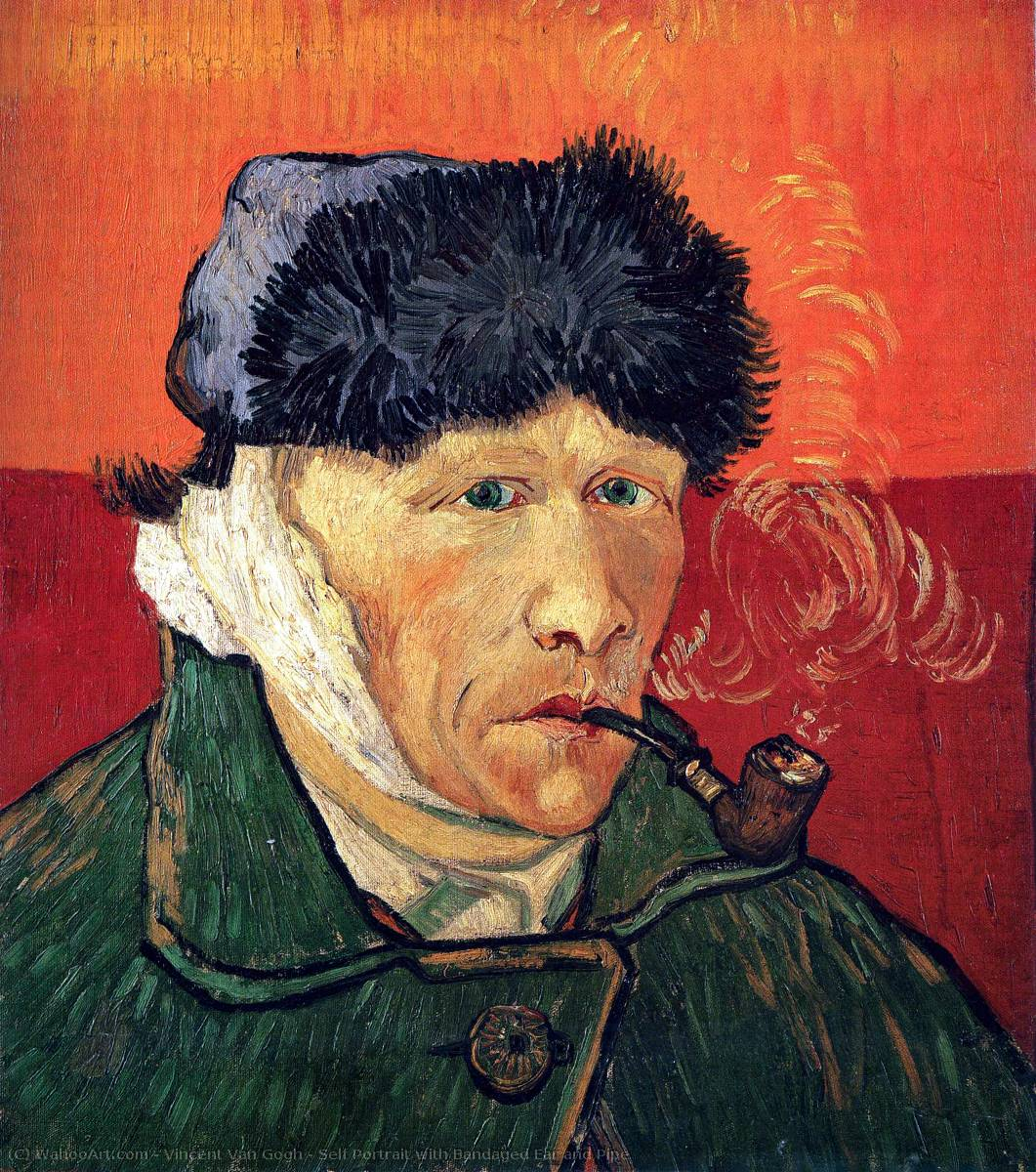 Self Portrait with Bandaged Ear and Pipe, 1889 by Vincent Van Gogh (1853-1890, Netherlands) | Art Reproductions Vincent Van Gogh | WahooArt.com