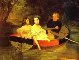 Karl Pavlovich Brulloff - Self-portrait with Baroness Ye. N. Meller-Zakomelskaya and a Girl in a Boat. (Unfinished)