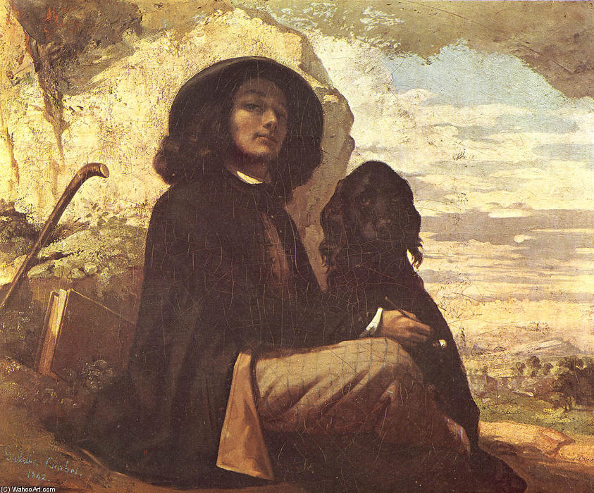Self-Portrait with a Black Dog, 1841 by Gustave Courbet (1819-1877, France) | Reproductions Gustave Courbet | WahooArt.com