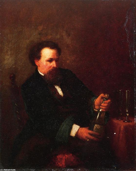 Self Portrait with Bottle of Champagne, Oil On Panel by Jonathan Eastman Johnson (1824-1906, United Kingdom)