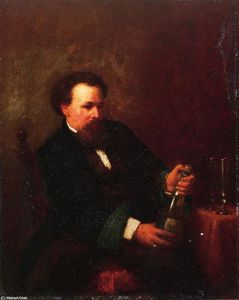 Jonathan Eastman Johnson - Self Portrait with Bottle of Champagne
