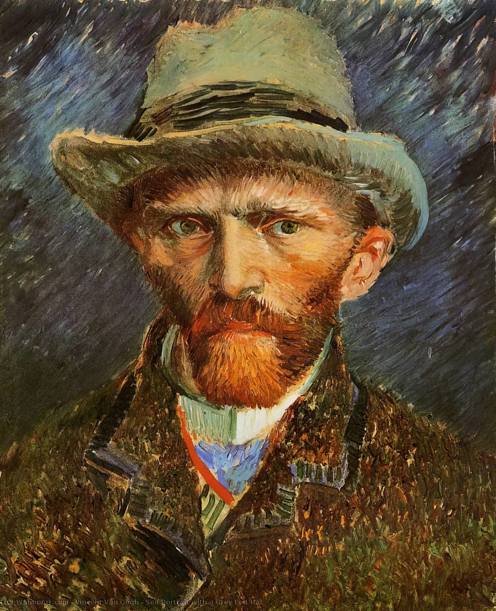 Self Portrait with a Grey Felt Hat, 1887 by Vincent Van Gogh (1853-1890, Netherlands) | Art Reproductions Vincent Van Gogh | WahooArt.com