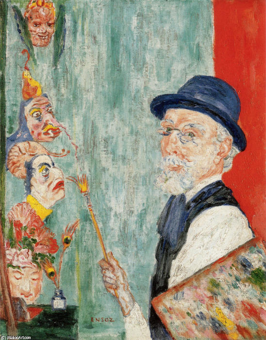 Self-Portrait with Masks, 1899 by James Ensor (1860-1949, Belgium) | Museum Quality Reproductions | WahooArt.com
