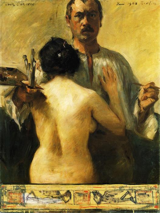 Self Portrait with Model, Oil On Canvas by Lovis Corinth (Franz Heinrich Louis) (1858-1925, Netherlands)