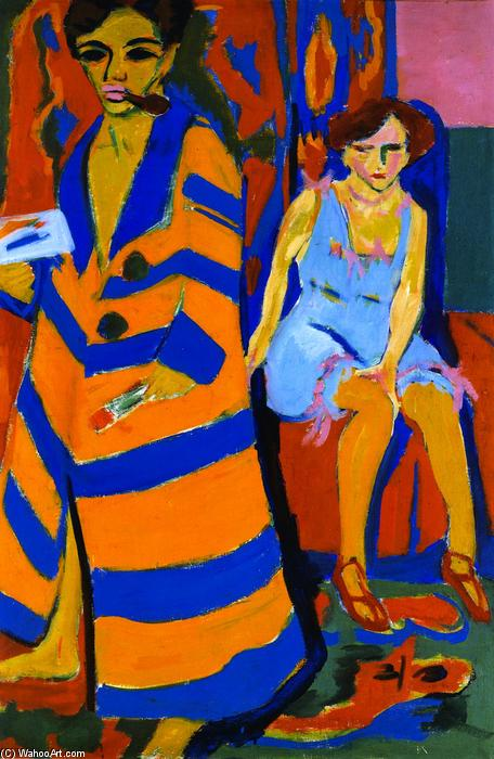 Self-portrait with Model by Ernst Ludwig Kirchner (1880-1938, Germany)