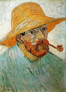 Vincent Van Gogh - Self Portrait with Pipe and Straw Hat