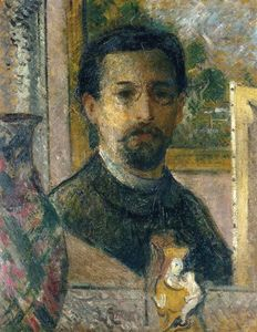 Gustave Loiseau - Self Portrait with Statuette