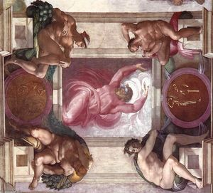 Michelangelo Buonarroti - Separation of Light from Darkness (with ignudi and medallions)