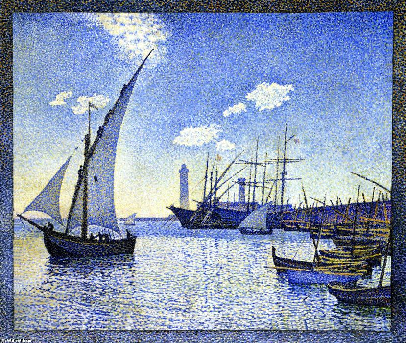 Sète Harbour, the Tartans, Oil On Canvas by Theo Van Rysselberghe (1862-1926, Belgium)
