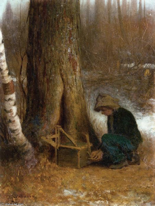 Setting the Trap by Jonathan Eastman Johnson (1824-1906, United Kingdom) | Oil Painting | WahooArt.com