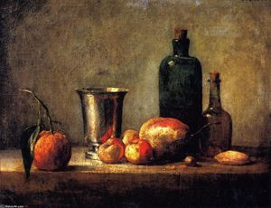 Jean-Baptiste Simeon Chardin - Seville Orange, Silver Goblet, Apples, Pear and Two Bottles