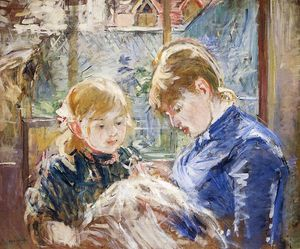 Berthe Morisot - The Sewing Lesson (also known as The Artist's Daughter, Julie, with Her Nanny)
