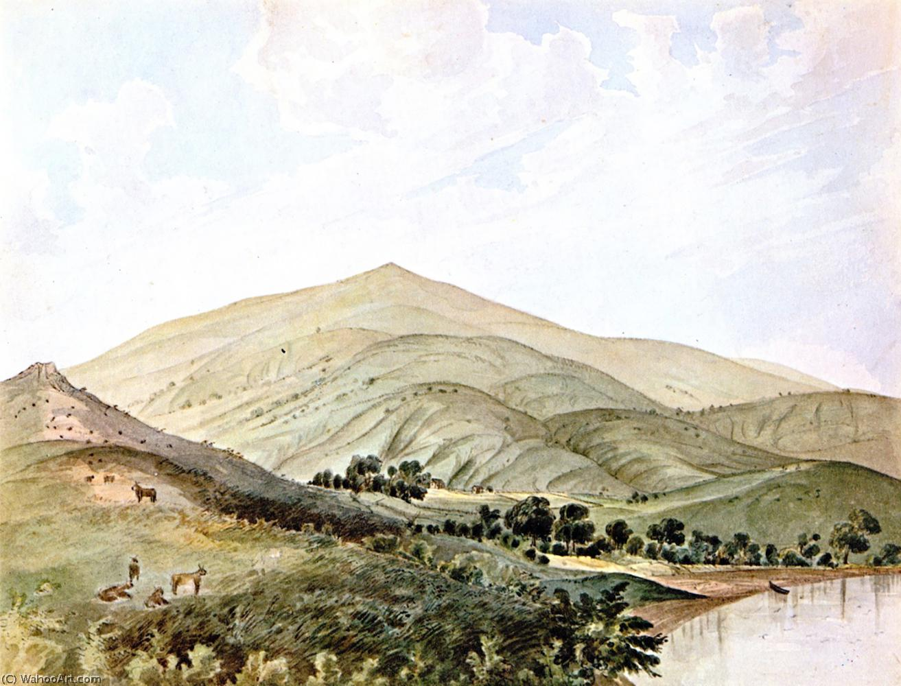 Shanghai Rancho near Saucelito-California, San Francisco Bay, Watercolour by James Madison Alden (1834-1922, United States)