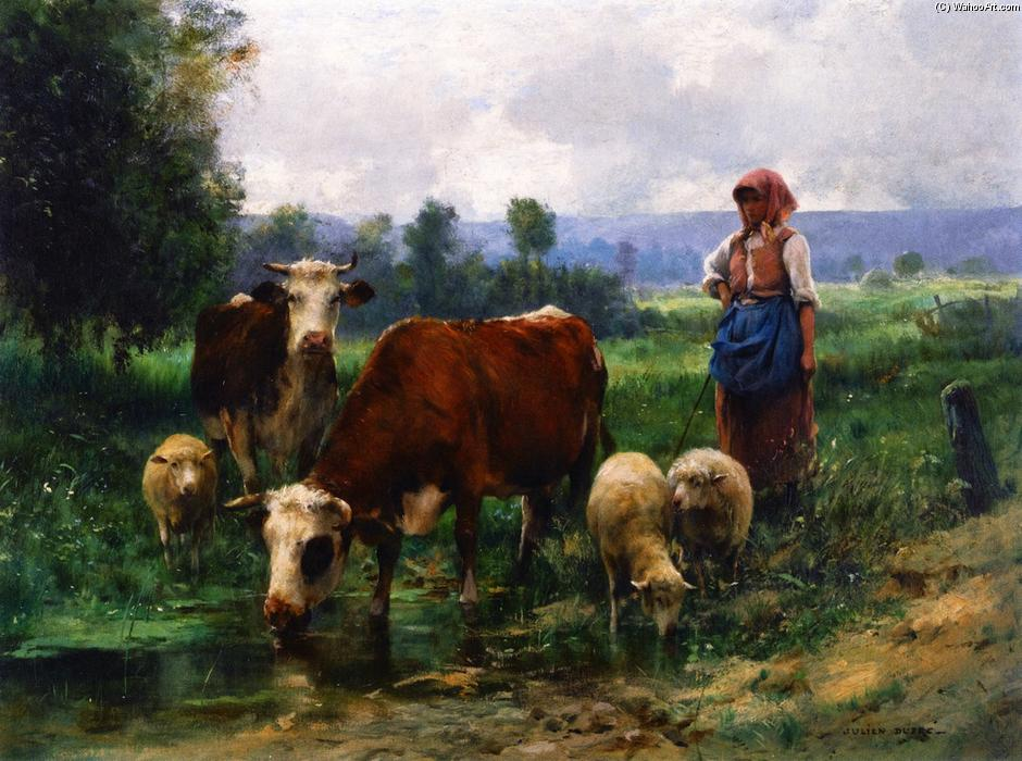 Shepherd And Her Flock Oil On Canvas By Julien Dupr 233