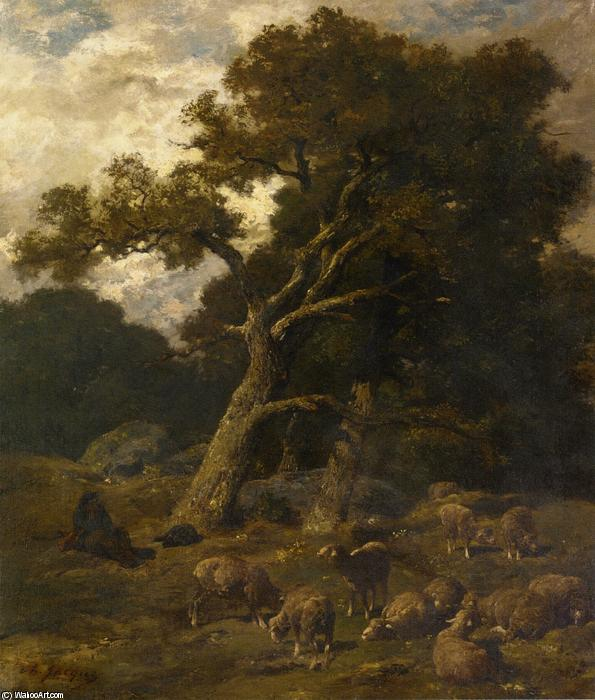 Shepherd and his Sheep in Fontaineblelau Forest, Oil On Canvas by Charles Émile Jacque (1813-1894, France)