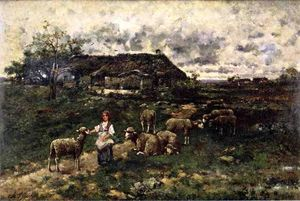 Charles Émile Jacque - A Shepherdess and Her Flock