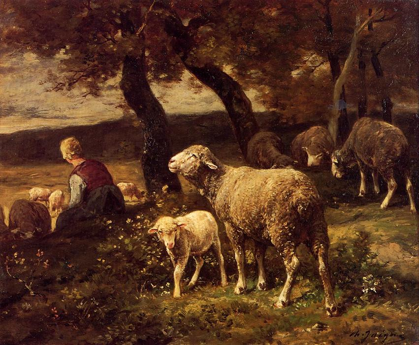 Shepherdess and Sheep, Oil On Panel by Charles Émile Jacque (1813-1894, France)