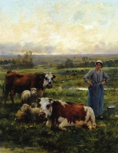 Julien Dupré - A Shepherdess with Cows and Sheep in a Landscape