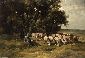 Charles Émile Jacque - A Shepherd with His Flock