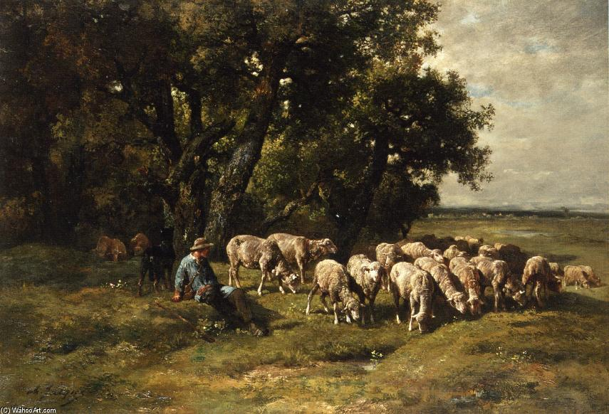 A Shepherd with His Flock, Oil On Canvas by Charles Émile Jacque (1813-1894, France)