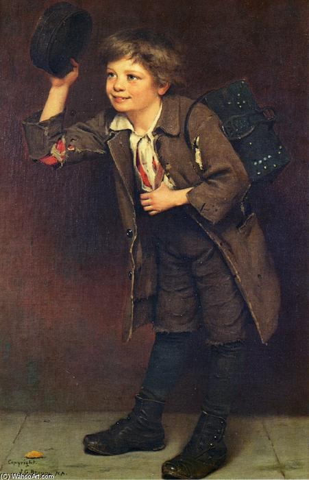 Shine, Mister?, Oil On Canvas by John George Brown (1831-1913, United Kingdom)