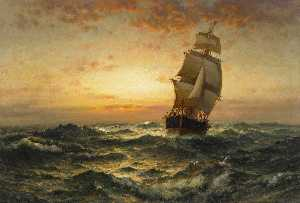 Edward Moran - Ship at Sea, Sunset