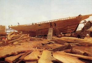 Winslow Homer - Shipbuilding at Gloucester (also known as Shipyard at Gloucester)