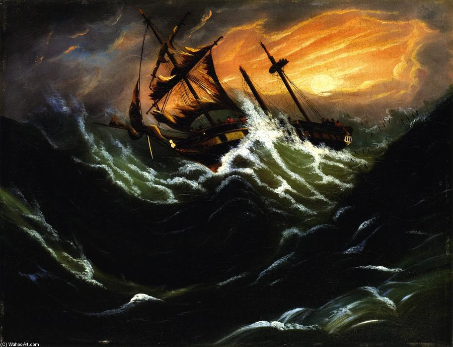 Ship in a Storm, 1836 by Thomas Chambers (1808-1869) | Painting Copy | WahooArt.com