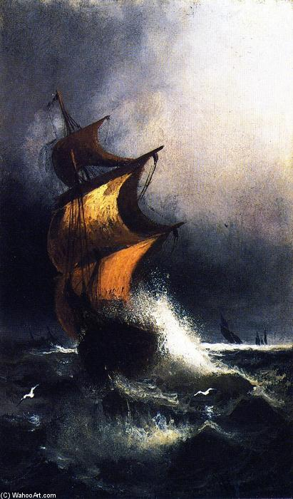 Ship in a Storm, 1879 by Henry Ossawa Tanner (1859-1937, United States) | Oil Painting | WahooArt.com