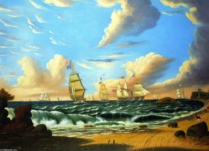 Thomas Chambers - Shipping off a Coast (also known as Nahant, from Lynn Beach)