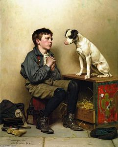 John George Brown - Shoeshine Boy with Dog