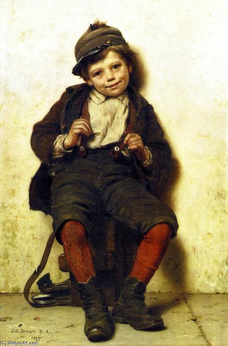 Shoeshine Boy with a Rose, 1885 by John George Brown (1831-1913, United Kingdom) | WahooArt.com