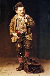 John George Brown - Shoeshine Boy with a Rose