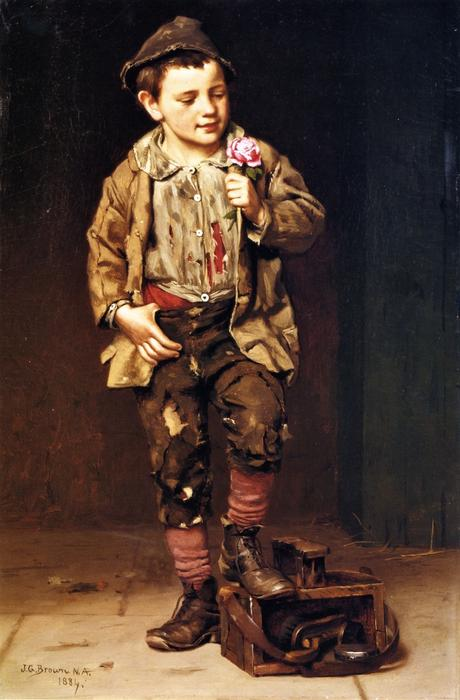 Shoeshine Boy with a Rose, 1884 by John George Brown (1831-1913, United Kingdom) | Museum Art Reproductions John George Brown | WahooArt.com