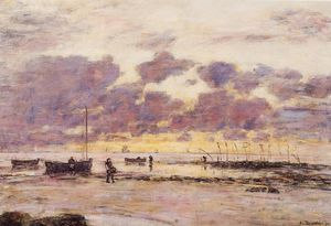 Eugène Louis Boudin - The Shores of Sainte Adresse at Twilight