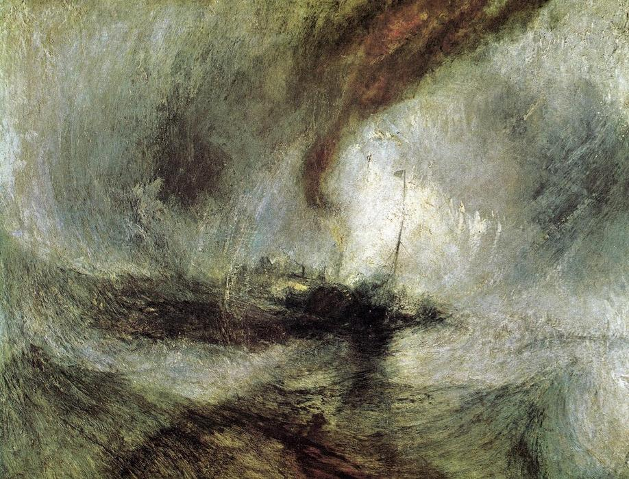 Show Storm - Seam-Boat off a Harbour's Mouth Making Signals in Shallow Water, and Going by the Lead. The Author was in this Storm on the Night the Ariel Left Harwich, Oil On Canvas by William Turner (1789-1862, United Kingdom)