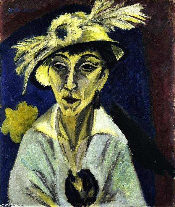 Sick Woman (also known as Woman with Hat or Portrait of Erna Schilling), 1913 by Ernst Ludwig Kirchner (1880-1938, Germany) | Art Reproduction | WahooArt.com