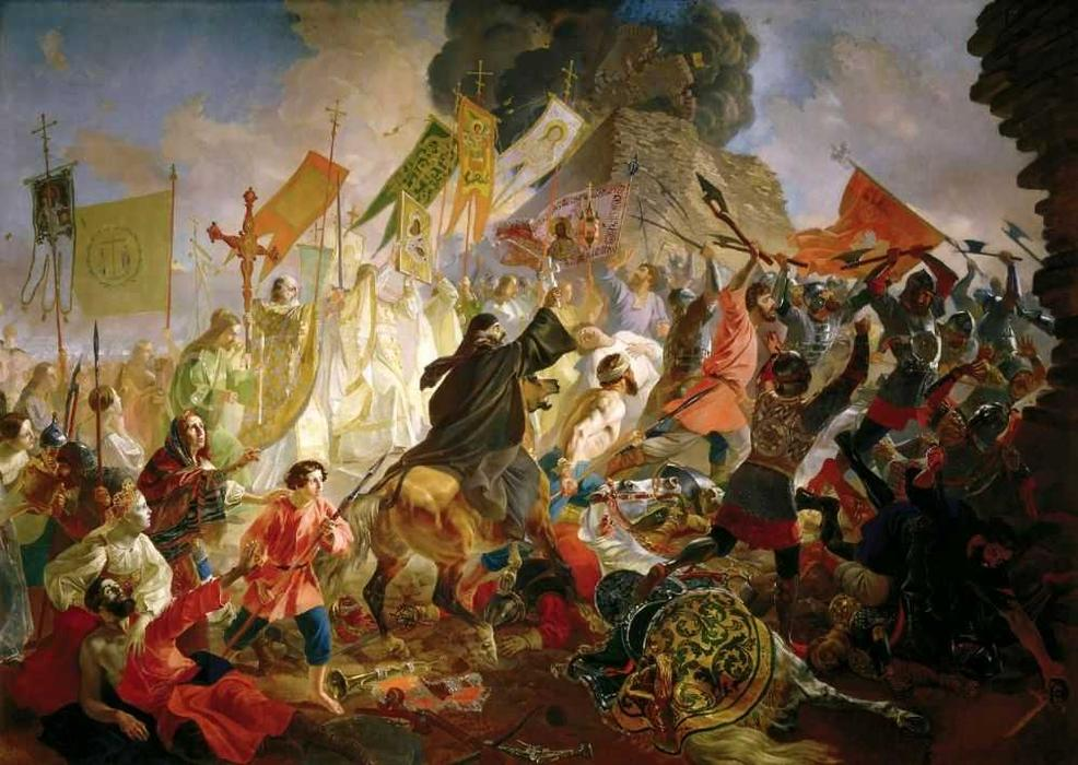 Siege of Pskov, 1843 by Karl Pavlovich Brulloff | Oil Painting | WahooArt.com