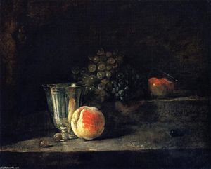 Jean-Baptiste Simeon Chardin - Silver Goblet, Peach, White and Red Grapes, and Apple