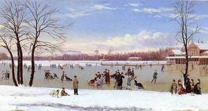 Order Museum Quality Reproductions : Skating in the Bois de Boulogne, 1877 by Conrad Wise Chapman (1842-1910, United States) | WahooArt.com