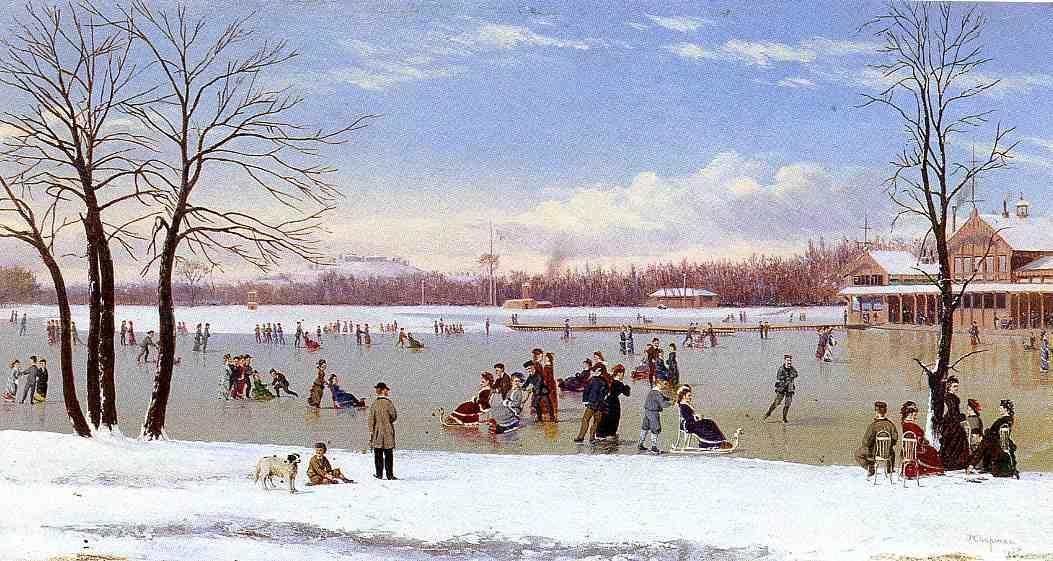 Skating in the Bois de Boulogne, 1877 by Conrad Wise Chapman (1842-1910, United States) | Museum Quality Reproductions | WahooArt.com