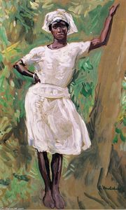 Julius Garibaldi Melchers - Sketch of Young Black Woman in White Dress and Hat