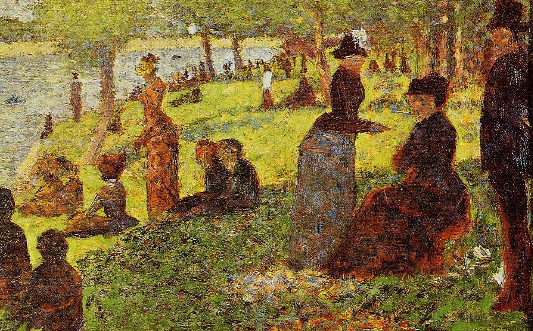 Sketch with Many Figures, Oil On Panel by Georges Pierre Seurat (1859-1891, France)