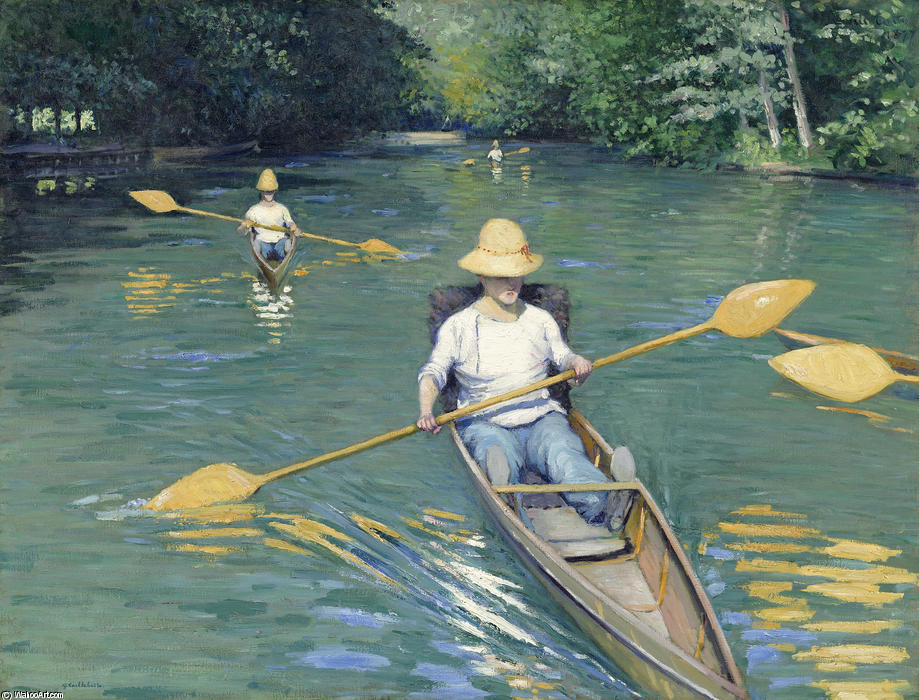Skiffs, Oil On Canvas by Gustave Caillebotte (1848-1894, France)